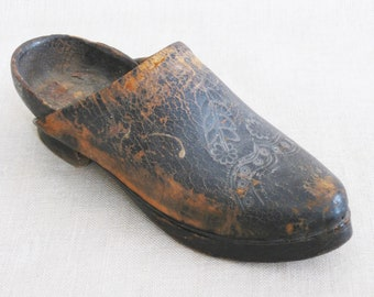 Vintage Clog, Wood and Leather Clog Style Shoe, Embossed, Tooled, Handmade, Carved Sole, European