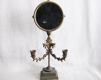 Vintage Standing Table Top Vanity Mirror with Double Candle Holder, Wilton Cast Metal,Romantic Decor