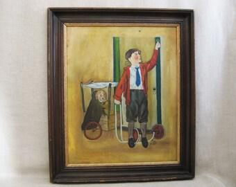 Vintage Male Portrait Painting of Boy and Dog, Framed Original Fine Art Child Portraits