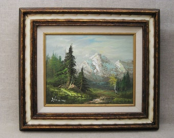 Vintage Landscape Painting, Framed Original Fine Art, Signed Hahn, Mountain Landscape