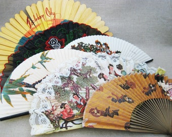 Vintage Hand Fan Collection, Asian Theme, Ornate Fans