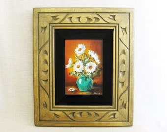 Vintage Flower Still Life Painting, Framed Original Fine Art, Signed Stuart