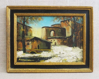 Vintage Landscape Painting, Adobe Architecture, Hoppeman, New Mexico Adobe Village