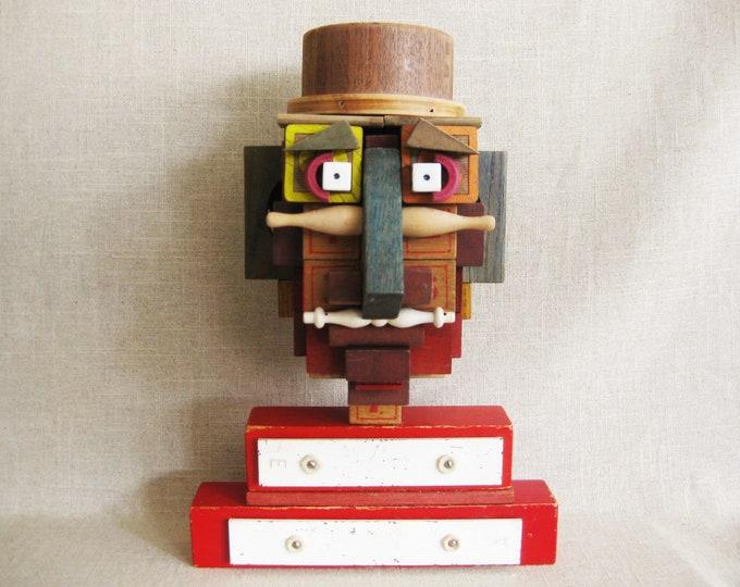 Featured listing image: Male Portrait Bust, Assemblage Folk Art Sculpture, Found Object Art