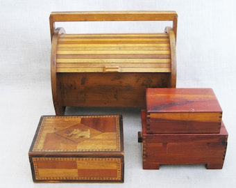 Vintage Wooden Box Collection, Storage and Organization, Trinket Boxes, Small Jewelry Box, Rustic Cabin Decor