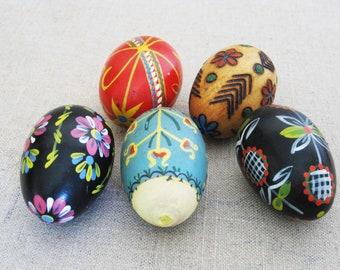 Vintage Wooden Eggs, Hand Painted Folk Art Easter Decor, European