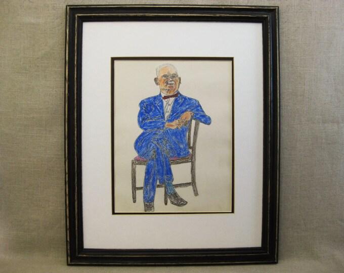 Featured listing image: Vintage Male Portrait Drawing, Folk Art, Framed Original Fine Art, Earle T Merchant