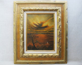 Vintage Marshland Landscape Painting, Framed Original Fine Art
