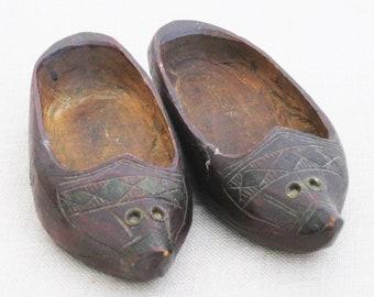 Vintage Clogs Hand Carved Miniature Folk Art Wooden Shoes, Pair, Handmade, European Style Footwear
