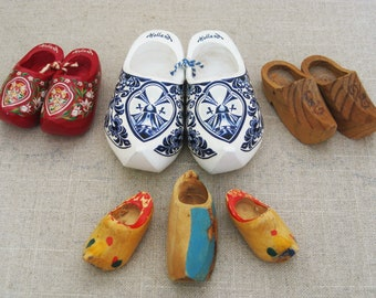 Vintage Miniature Clogs Collection, Wooden Shoes, Holland Souvenir, Hand Carved