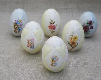 Vintage Ceramic Easter Eggs Collection, Bowl and Basket Filler, Decorative Chicken Size Egg, Spring Decor, Group of 6, Yellow, Flower Design