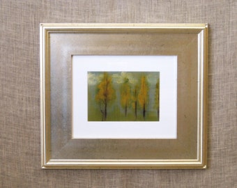 Fall Landscape Painting, Original Fine Art, Nature, Living Room Wall Decor, Framed, Forest, Silver Frame