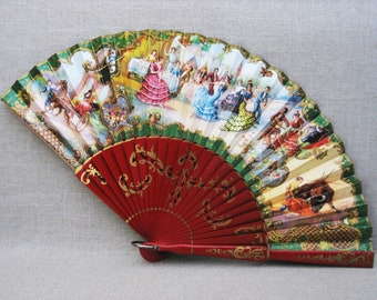 Vintage Hand Fan, Folding, Summer Accessories, Hand Painted Wood and Paper