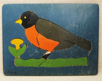 Vintage Wood Puzzle, Childrens Toys, Robin Bird, Judy Toys, Folk Art Wall Decor