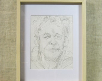 Male Portrait Drawing, Pencil Sketch, Portraiture, Original Fine Art, Framed, Masculine, Hand Drawn