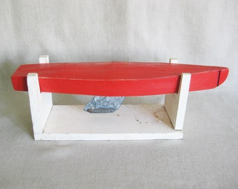 Vintage Wood Toy Boat, Folk Art, Display Stand, Hand Crafted, Red, Pond Yacht, Nautical, Water Craft