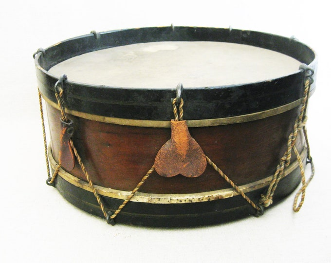 Featured listing image: Vintage Wooden Snare Drum, Antique Musical Instruments