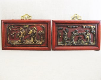 D Vintage Asian Relief Carvings, Pair of Framed Carved Wooden Panels, Chinoiserie