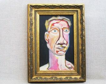 Original Male Portrait Painting, Framed Original Fine Art, Paintings of Men