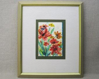 Vintage Flower Painting, Watercolor Original Fine Art, Framed Wall Decor