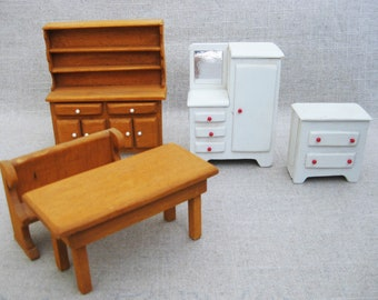 Vintage Doll House Furniture, Kitchen Miniatures, Handmade Wood Table, Bench, Hutch