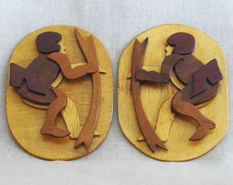 Vintage Folk Art Handmade Cupid Plaque Set, Male Portrait, Love, Pair, Wood Carvings, Rustic Cabin Decor, Hand Crafted Wall Decor, Archery
