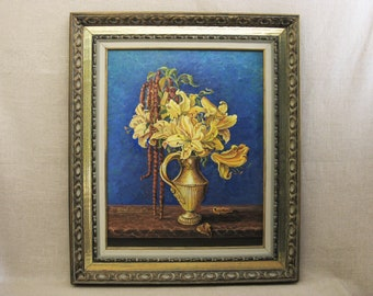 Vintage Flower Painting, Floral Still Life, Framed Original Fine Art