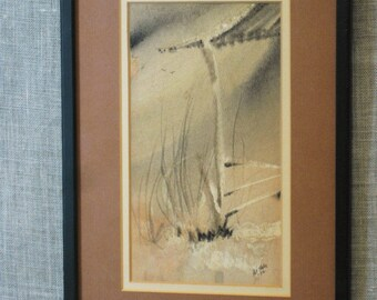 Vintage Abstract Watercolor Painting, Signed Pat Hale, Original Fine Art