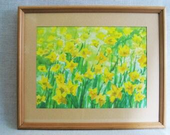 Vintage Flower Painting, Watercolor, Daffodils, Framed Original Fine Art