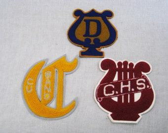 Vintage Varsity Band Letterman Patch Collection, High School Music Patch, Deep Red on White