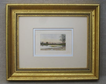 Vintage Landscape Engraving, Hand Colored Fine Art Print, Framed Original Fine Art