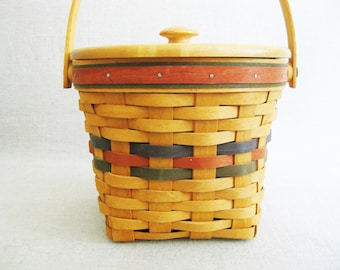 Vintage Longaberger 8 inch Round 1996 Lidded with Liner, Ice Bucket Primitive Basket