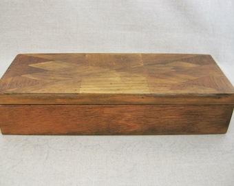 Vintage Wood Box, Marquetry Work, Dresser Storage, Desk Organization, Rustic Primitive Decor
