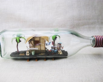 Vintage Bottle Whimsy, Philippine Souvenir, Folk Art Diorama in a Bottle