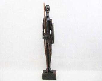 Vintage Male Portrait Don Quixote Wood Carving, Folk Art Male Figure, Hand Carved, Spanish
