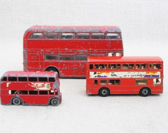 Vintage London Double Decker Bus Collection, Lensey Toys, Dinky, Miniature Cars