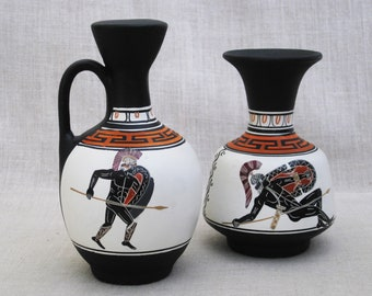 Vintage Greek Vase Ceramic Black Figure Vessels, Grecian Style Pitcher, Hand Painted Reproductions, Classical Decor