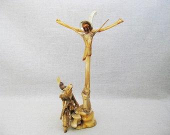 Vintage Folk Art Crucifix, Outsider Art, Religious Sculpture