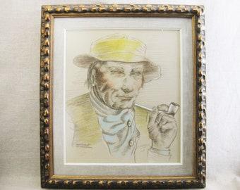 D Vintage Male Portrait Drawing, Margaret Aaberg, Pastels, Framed Original Fine Art, Dutchman