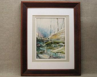 Vintage Landscape Watercolor Painting, Michael C McQuire, Nature Art, Framed Original Fine Art