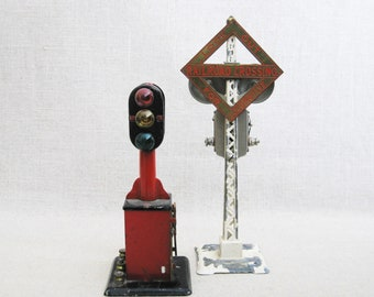 Vintage Miniature Train Warning Signals, Semaphores