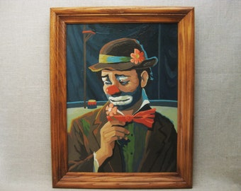 Vintage Clown Paint by Number, Framed Original Fine Art, Emmett Kelly, Hand Painted