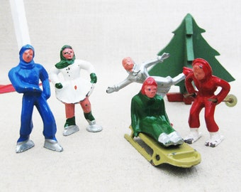 Vintage Miniature Winter Sports Figurines, Barclay Metal Toy People, Christmas Decor