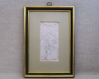 Vintage Portrait Drawing, Mid-Century Framed Original Fine Art, Family