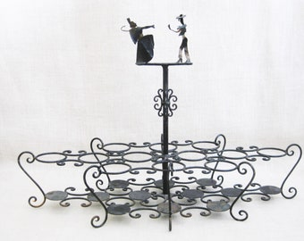 Vintage Glass Caddy, Cordial Size Glass Rack, Wrought Iron, Sculptural