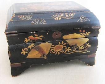 Antique Asian Style Wooden Jewelry Box, Vintage Chest, Hand Painted, Storage, Organization, Black, Fan Motif, Original Key