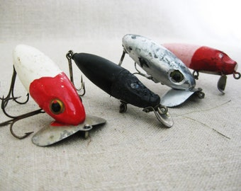 Vintage Fishing Lures, Collection, Folk Art Style, Hand Painted, Rustic Cabin Decor