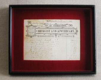 Vintage Medical Collectibles, Pharmaceutical Documents, 1884