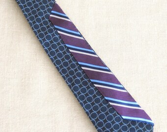 Vintage Silk Tie, Stripes, Max Azaria, Hand Embroidered, Blue, Purple, Upcycled, Preppy