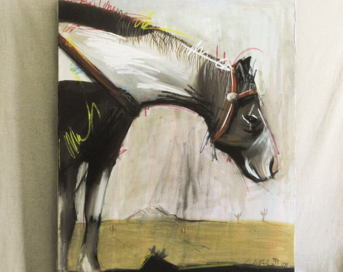 Featured listing image: Vintage Horse Painting, Equestrian Original Fine Art, Large Paintings